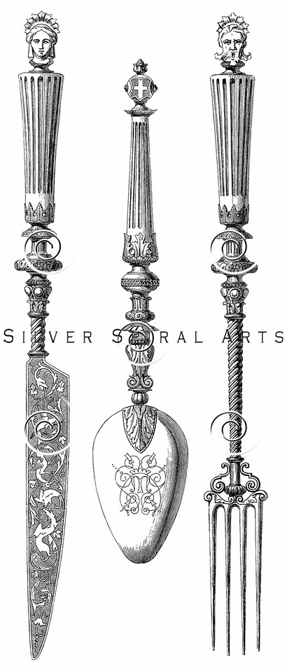 Vintage Knife Fork Spoon Illustration - 1800s Silverware Images.