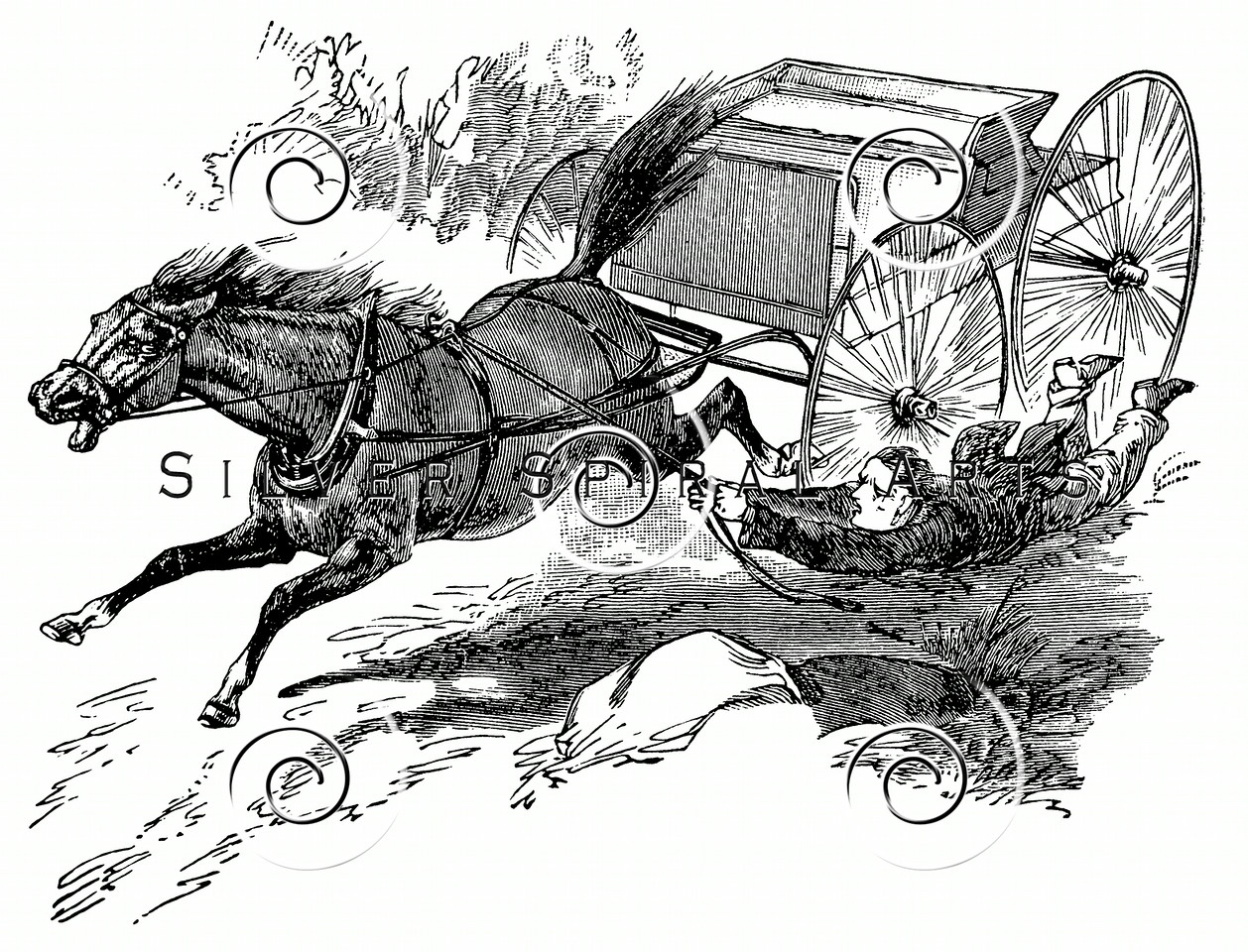 Vintage Horse Wagon Cart Illustration - 1800s Horses Images.