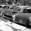 """Nothin' but the tail lights."" (Vintage Cars B & W)"