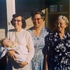 Thanksgiving 1957 - Wilson District, Yuba City CA<br /> Leah Clouse holding David, Gladys Clouse, & Wilmia Clouse