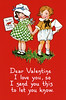 "Two little Children giving each other a Valentine greeting - a circa 1915 vintage Valentine greeting card illustration.  The ""XLarge"" and smaller photo sizes are FREE for any personal use (under a <a href=""http://creativecommons.org/licenses/by-nc-nd/2.0/"">Creative Commons</a> license). Click the ""Buy"" or shopping cart button (above the image) to purchase prints or downloads. PRICING: 1-megapixel Personal downloads are $1.89; 4-megapixel and ""Original"" (9-megapixel) Personal downloads are $4.95; 1-megapixel Commercial downloads are $9.95, 4-megapixel and ""Original"" (9-megapixel) Commercial downloads are $49.95; NOTE: Free personal use requires a photo credit to my company, ''<a href=""http://www.tssphoto.com/"">The Stock Solution</a>'', and link to that Web site if you use the image on a personal Web site. Do not redistribute digital copies via email -- instead, please link to this web page. Be sure to see all our <a href=""http://roycebair.smugmug.com/Vintage-Collections"">Vintage Collections</a>."