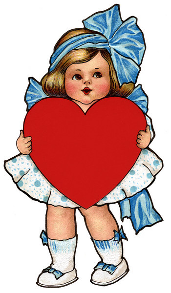 "Cute little girl with ribbons and bows, holding red heart - a 1910 Valentine illustration.  The ""XLarge"" and smaller photo sizes are FREE for any personal use (under a <a href=""http://creativecommons.org/licenses/by-nc-nd/2.0/"">Creative Commons</a> license). Click the ""Buy"" or shopping cart button (above the image) to purchase prints or downloads. PRICING: 1-megapixel Personal downloads are $1.89; 4-megapixel and ""Original"" (7-megapixel) Personal downloads are $4.95; 1-megapixel Commercial downloads are $9.95, 4-megapixel and ""Original"" (7-megapixel) Commercial downloads are $49.95; NOTE: Free personal use requires a photo credit to my company, ''<a href=""http://www.tssphoto.com/"">The Stock Solution</a>'', and link to that Web site if you use the image on a personal Web site. Do not redistribute digital copies via email -- instead, please link to this web page. Be sure to see all our <a href=""http://roycebair.smugmug.com/Vintage-Collections"">Vintage Collections</a>."