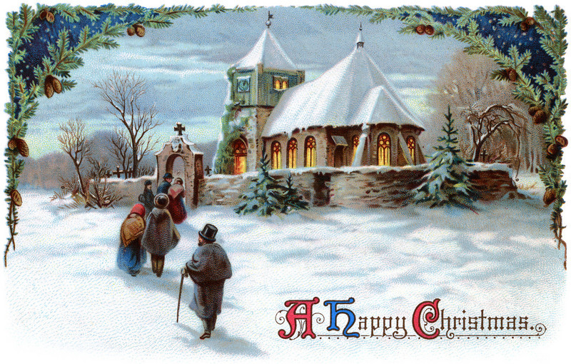 "A Peaceful Winter Scenic. Going to church on Christmas Eve - a 1911 vintage Xmas card illustration. The ""XLarge"" and smaller photo sizes are FREE for any personal use (under a <a href=""http://creativecommons.org/licenses/by-nc-nd/2.0/"">Creative Commons</a> license). All our vintage images are <i>digitally RESTORED</i>: Here's a <a href=""http://www.flickr.com/photos/ironrodart/4166562645/"">before</a> and after restoration example. Be sure to see all our <a href=""http://roycebair.smugmug.com/Vintage-Collections"">Vintage Collections</a>. Do not redistribute digital copies via email -- instead, please link to this web page.  COMMERCIAL USE, any WEB USE, PRINTS, or LARGER DOWNLOADS: Click the ""Buy"" or shopping cart button (above the image) to purchase prints or larger downloads for personal use, or any size for commercial use. PRICING: 1-megapixel Personal downloads are $1.89; 4-megapixel and ""Original"" (9-megapixel) Personal downloads are $4.95; 1-megapixel Commercial downloads are $9.95, 4-megapixel and ""Original"" (9-megapixel) Commercial downloads are $49.95; NOTE: Free personal use requires a photo credit to my company, ''<a href=""http://www.tssphoto.com/"">The Stock Solution</a>'', and link to that Web site if you use the image on a personal Web site."