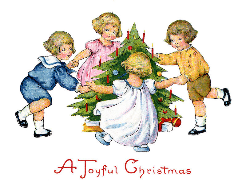 "Children dancing around the decorated Christmas tree - a 1918 vintage greeting card, with the greeting, ''A Joyful Christmas''. The ""XLarge"" and smaller photo sizes are FREE for any personal use (under a <a href=""http://creativecommons.org/licenses/by-nc-nd/2.0/"">Creative Commons</a> license). Click the ""Buy"" or shopping cart button (above the image) to purchase prints or downloads. PRICING: 1-megapixel Personal downloads are $1.89; 4-megapixel and ""Original"" (9-megapixel) Personal downloads are $4.95; 1-megapixel Commercial downloads are $9.95, 4-megapixel and ""Original"" (9-megapixel) Commercial downloads are $49.95; NOTE: Free personal use requires a photo credit to my company, ''<a href=""http://www.tssphoto.com/"">The Stock Solution</a>'', and link to that Web site if you use the image on a personal Web site. Do not redistribute digital copies via email -- instead, please link to this web page. Be sure to see all our <a href=""http://roycebair.smugmug.com/Vintage-Collections"">Vintage Collections</a>."