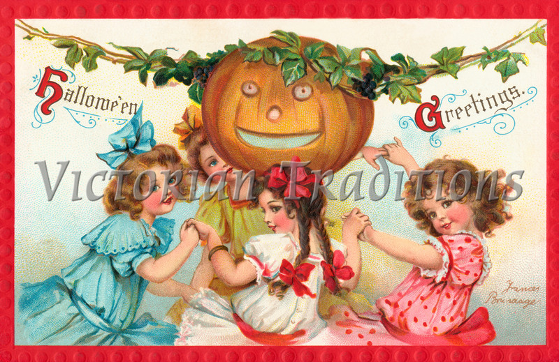 "Halloween Party - 4 Little Girls - a 1912 vintage illustration. Your purchased prints & downloads will NOT have ""Victorian Traditions"" watermark. See our <a href=""http://www.OldPixels.com/"">Old Pictures</a> website for more vintage images."