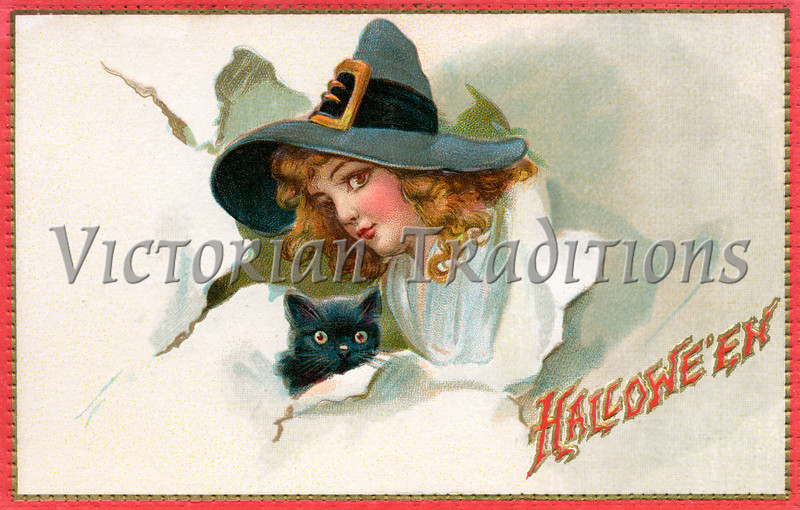 "Halloween Witch & Black Cat - 1909 vintage illustration. Your purchased prints & downloads will NOT have ""Victorian Traditions"" watermark."