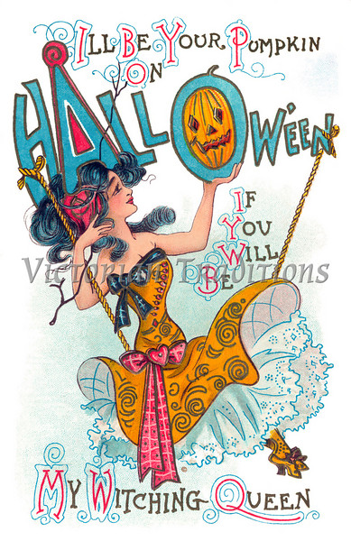 """Halloween Witching Queen - 1910 vintage illustration. Your purchased prints & downloads will NOT have """"Victorian Traditions"""" watermark."""