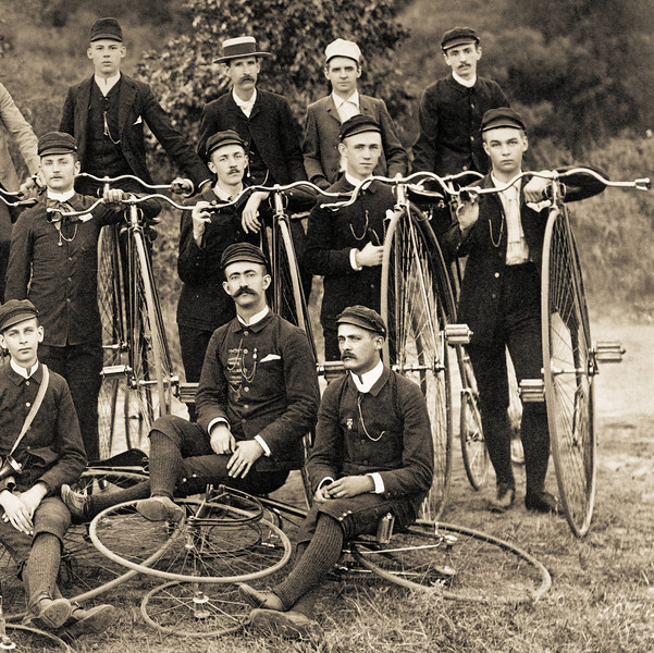 """High Wheel Bicycle Club Group Photo - circa 1895. These early bicycles were called penny-farthing, high wheel, high wheeler, Hi-wheel and ordinary bikes. The """"XLarge"""" and smaller photo sizes are FREE for any personal use (under a <a href=""""http://creativecommons.org/licenses/by-nc-nd/2.0/"""">Creative Commons</a> license). Click the """"Buy"""" or shopping cart button (above the image) to purchase prints or downloads. PRICING: 1-megapixel Personal downloads are $1.89;  4-megapixel Personal downloads are $4.95, 1-megapixel Commercial downloads are $9.95, 4-megapixel Commercial downloads are $49.95 -- or choose the full-size, uncropped version (15-megapixels). NOTE: Free personal use requires a photo credit to my company, ''<a href=""""http://www.tssphoto.com/"""">The Stock Solution</a>'', and link to that Web site if you use the image on a personal Web site."""