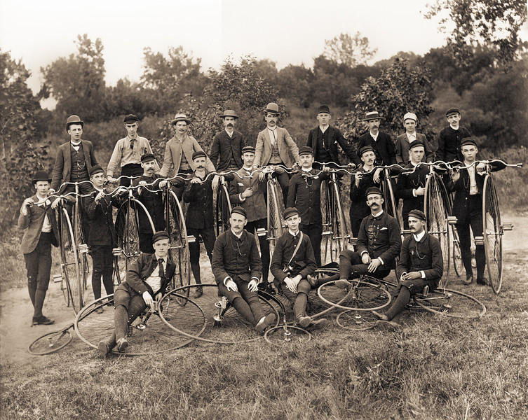 "High Wheel Bicycle Club Group Photo - circa 1895. These early bicycles were called penny-farthing, high wheel, high wheeler, Hi-wheel and ordinary bikes. The ""XLarge"" and smaller photo sizes are FREE for any personal use (under a <a href=""http://creativecommons.org/licenses/by-nc-nd/2.0/"">Creative Commons</a> license). Click the ""Buy"" or shopping cart button (above the image) to purchase prints or downloads. PRICING: 1-megapixel Personal downloads are $1.89; 4-megapixel and ""Original"" (15-megapixel) Personal downloads are $4.95; 1-megapixel Commercial downloads are $9.95, 4-megapixel and ""Original"" (15-megapixel) Commercial downloads are $49.95; NOTE: Free personal use requires a photo credit to my company, ''<a href=""http://www.tssphoto.com/"">The Stock Solution</a>'', and link to that Web site if you use the image on a personal Web site."