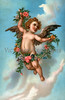 A vintage angel illustration with floral wreath - circa 1890