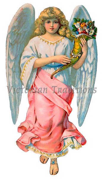 An angel holding a cornucopia - a vintage illustration - circa 1890