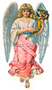 An angel holding a cornucopia - a vintage illustration - circa 1890