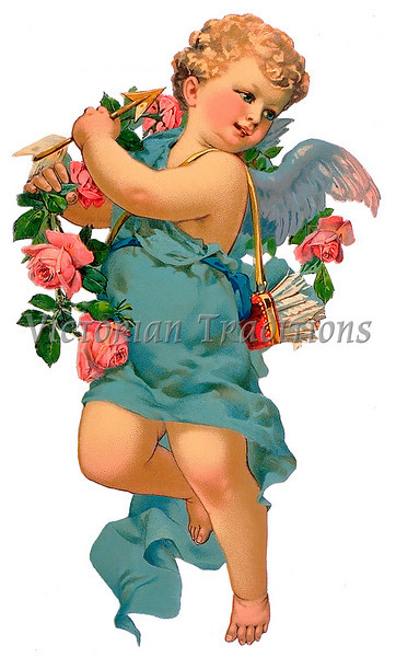 A vintage cupid illustration with flowers and arrows - circa 1885