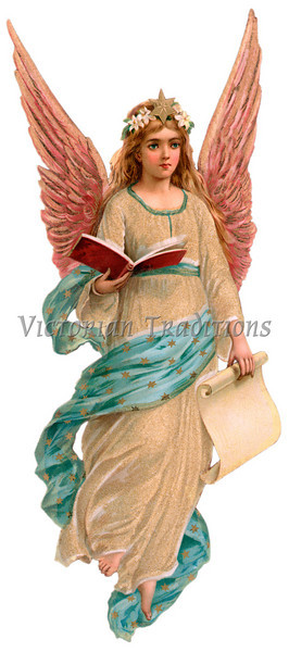 A vintage angel illustration - holding a book and a scroll - this pairs up with another angel facing the opposite direction - circa 1890