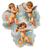A vintage illustration of three cherubs in the clouds - circa 1882