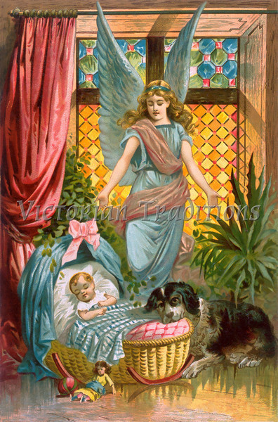 A vintage illustration of a baby being watched over by its guardian angel, and a Saint Bernard dog - circa 1884