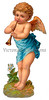 A vintage cherub illustration with flute - circa 1885