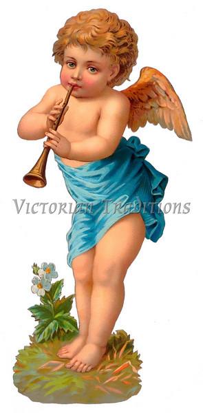 A vintage cherub illustration with flute - circa 1885