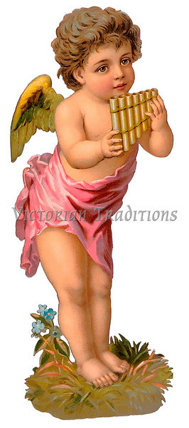 A vintage cherub illustration with a pan-flute - circa 1885