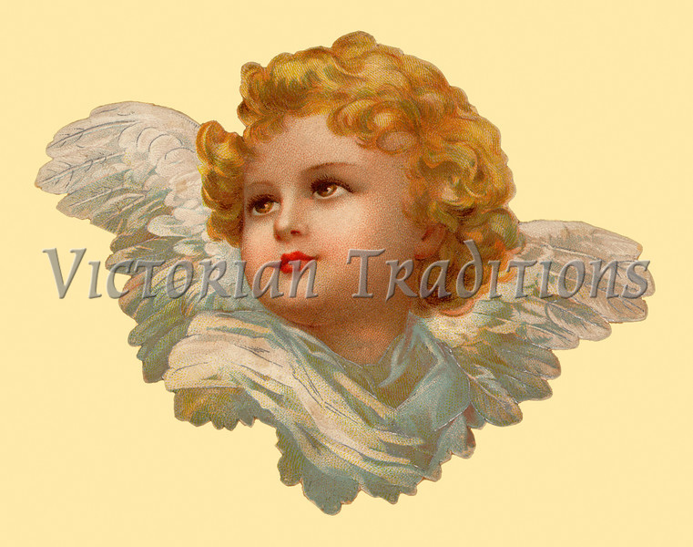 "Antique angel portrait from an 1899 vintage greeting card illustration. Your purchased prints & downloads will NOT have ""Victorian Traditions"" watermark."