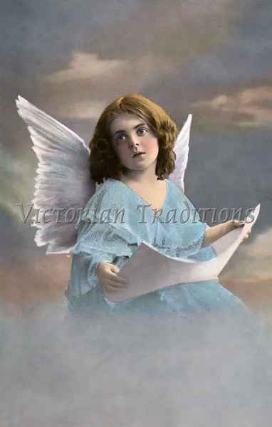 """Little Girl Angel - a vintage 1913, hand-tinted photo. Your purchased prints & downloads will NOT have """"Victorian Traditions"""" watermark."""