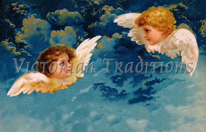 """A 1909 vintage angels illustration. Note: largest """"Original"""" size download of this image is 7Mb (2.3 Mpix) or 1892 x 1220 pixels. Your purchased prints & downloads will NOT have """"Victorian Traditions"""" watermark."""