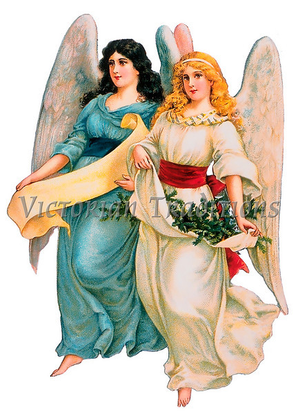 Two female angels, a vintage illustration - circa 1890