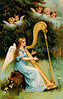 """A 1919 vintage angels illustration. Note: largest """"Original"""" size download of this image is 7Mb (2.3 Mpix) or 1200 x 1894 pixels. Your purchased prints & downloads will NOT have """"Victorian Traditions"""" watermark."""