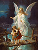 "Guardian Angel Protecting Children - a circa 1890 Victorian Illustration by an unknown artist.  Your purchased prints & downloads will NOT have ""Victorian Traditions"" watermark.<br /> <br /> This innocent view of how children were protected was a very popular belief throughout the Victorian era.  Because of the higher mortality rate in those days, children were greatly cherished.  It was a popular belief that children had several guardian angels.  Even today, children are considered more vulnerable and in need of more protection when they are young.  A popular thought then and today is that as they grow, they need less angelic protection as they become aware of the dangers around them.  Some, not all, of the angels leave a child as he matures.<br /> <br /> Throughout the Bible we find it repeatedly implied that each individual soul has a guardian angel.  Thus Abraham, when sending his steward to seek a wife for Isaac, says: ""he shall send his angel before thee"". Although no Biblical passage of itself demonstrates the doctrine that every individual has his appointed guardian angel, there is reinforcement of the notion from the words of Jesus: ""Take heed that ye despise not one of these little ones; for I say unto you, That in heaven their angels do always behold the face of my Father which is in heaven."" (Matt. 18:10) <br /> <br /> From Psalm 91:10-12: ""There shall no evil befall thee, neither shall any plague come nigh thy dwelling. For he shall give his angels charge over thee, to keep thee in all thy ways. They shall bear thee up in their hands, lest thou dash thy foot against a stone.""<br /> <br /> The Koran states, ""He [God] sends forth guardians who watch over you and carry away your souls without fail when death overtakes you.""<br /> <br /> Do angels have wings?  John said, ""And I beheld, and heard an angel flying through the midst of heaven, saying with a loud voice, Woe, woe, woe, to the inhabiters of the earth..."" (Rev. 8:13)  Illustrations throughout the past millennia have usually depicted angels as having wings.  The association of wings with these messengers was probably due to the description of angels in ancient Israel, i.e. the two cherubs which were described in the ornamentation of Solomon's temple (which were similar to those on the Ark of the Covenant): ""And he set the cherubims within the inner house: and they stretched forth the wings of the cherubims, so that the wing of the one touched the one wall, and the wing of the other cherub touched the other wall; and their wings touched one another in the midst of the house.""  (I Kings 6:27)  But do angels need wings to fly, or do we only need to see wings on angels to help us recognize them as such?  What really matters is that angels truly do exist and continue to help us as directed by God!"
