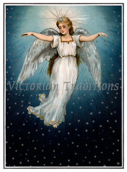 """A vintage illustration of a angel flying in a starry night sky - circa 1890 (licensed from the Nancy Rosin Collection). Your purchased prints & downloads will NOT have """"Victorian Traditions"""" watermark."""