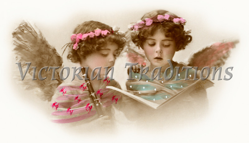 A hand-tinted photo of two little girls singing - they are made up to look like angels - circa 1910.
