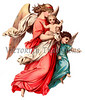 A child being carried by its guardian angel - a circa 1890 vintage illustration