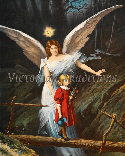 Guardian Angel Protecting Children - Circa 1890 Victorian Illustration