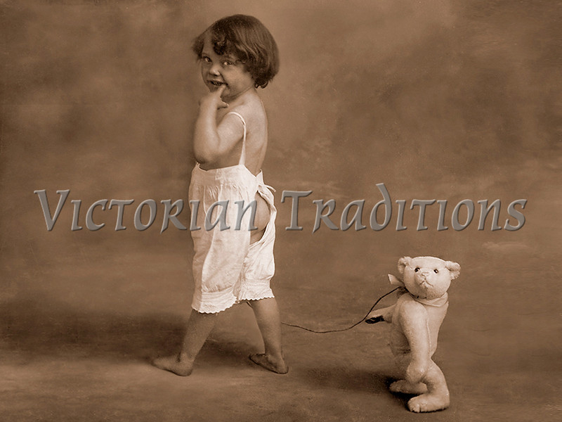 "Young child in underclothes with teddy bear in tow -  - a vintage photograph. NOTE: This image is only available in the 1-megapixel size (do not waste your money on the 4-megapixel or ""Original"" size, as they are still only 1-megapixel when opened :)"