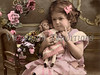 """Little girl scolding her doll with - a vintage, hand-tinted photograph. NOTE: This image is only available in the 1-megapixel size (do not waste your money on the 4-megapixel or """"Original"""" size, as they are still only 1-megapixel when opened :)"""