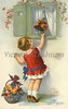 """Little places flower bouquet on window sill - a vintage illustration. NOTE: This image is only available in the 1-megapixel size (do not waste your money on the 4-megapixel or """"Original"""" size, as they are still only 1-megapixel when opened :)"""
