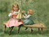 "Two little girls playing with a rag doll - a vintage illustration. NOTE: This image is only available in the 1-megapixel size (do not waste your money on the 4-megapixel or ""Original"" size, as they are still only 1-megapixel when opened :)"