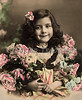 "Portrait of a young girl with lace collar and flowers - a vintage,  hand-tinted photograph. NOTE: This image is only available in the 1-megapixel size (do not waste your money on the 4-megapixel and ""Original"" size, as they are still only 1-megapixel when opened :)"
