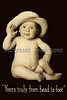 Portrait of baby with floppy hat - a vintage photograph, with caption - ''Yours truly from head to foot""