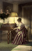 "Woman playing the piano, elegant, Victorian style furnishings - a vintage, hand-tinted photograph. NOTE: This image is only available in the 1-megapixel size (the 4-megapixel and ""Original"" size should not be purchased, as they are still only 1-megapixel when opened)."