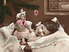 "Little girl playing with her doll while she lays in bed on Christmas morning - a vintage, hand-tinted photograph. NOTE: This image is only available in the 1-megapixel size (do not waste your money on the 4-megapixel or ""Original"" size, as they are still only 1-megapixel when opened :)"