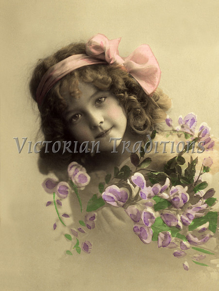 """Portrait of little girl with flowers - a vintage,  hand-tinted photograph. NOTE: This image is only available in the 1-megapixel size (do not waste your money on the 4-megapixel and """"Original"""" size, as they are still only 1-megapixel when opened :)"""