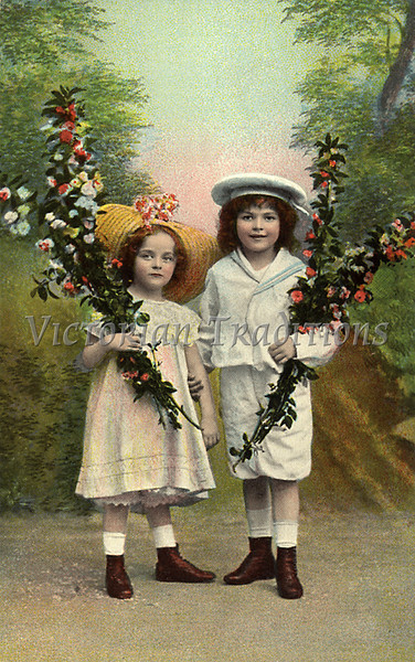 """Portrait of a brother and sister holding flowers, in front of a hand painted studio background - a vintage,  hand-tinted photograph. NOTE: This image is only available in the 1-megapixel size (do not waste your money on the 4-megapixel and """"Original"""" size, as they are still only 1-megapixel when opened :)"""