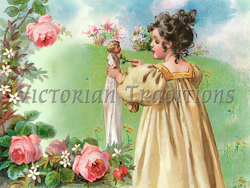 "Little girl playing with her doll in a flower garden - a vintage illustration. NOTE: This image is only available in the 1-megapixel size (do not waste your money on the 4-megapixel or ""Original"" size, as they are still only 1-megapixel when opened :)"