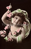 "Portrait of a little girl with flowers and veil - a vintage,  hand-tinted photograph. NOTE: This image is only available in the 1-megapixel size (do not waste your money on the 4-megapixel and ""Original"" size, as they are still only 1-megapixel when opened :)"