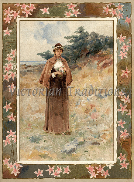 "Woman walking outdoors in country setting, with floral framing - a vintage illustration. NOTE: This image is only available in the 1-megapixel size (do not waste your money on the 4-megapixel or ""Original"" size, as they are still only 1-megapixel when opened :)"
