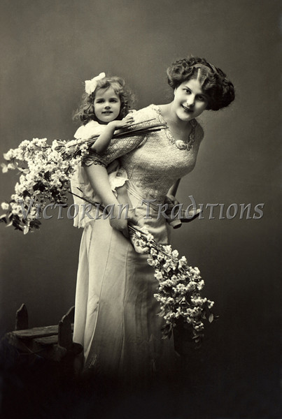 "Portrait of Mother and daughter playing, holding flowers - a vintage photograph. NOTE: This image is only available in the 1-megapixel size (do not waste your money on the 4-megapixel and ""Original"" size, as they are still only 1-megapixel when opened :)"
