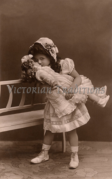 "Little girl kissing her doll - a vintage photograph. NOTE: This image is only available in the 1-megapixel size (do not waste your money on the 4-megapixel or ""Original"" size, as they are still only 1-megapixel when opened :)"