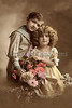 "Portrait of a brother and sister holding a flower basket - a vintage,  hand-tinted photograph. NOTE: This image is only available in the 1-megapixel size (do not waste your money on the 4-megapixel and ""Original"" size, as they are still only 1-megapixel when opened :)"