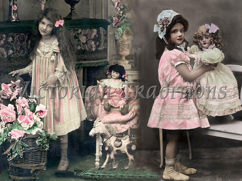 "Young girls playing with their dolls - a vintage, hand-tinted photograph. NOTE: This image is only available in the 1-megapixel size (do not waste your money on the 4-megapixel or ""Original"" size, as they are still only 1-megapixel when opened :)"